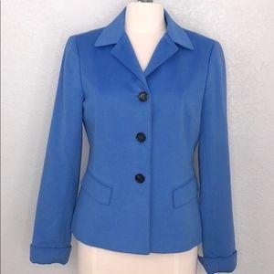 Lafayette 148 Blue Wool Angora Blazer 8